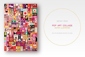 Musical Pop Art collage vector illus
