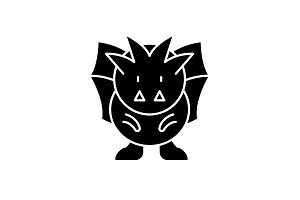 Horror black icon, vector sign on