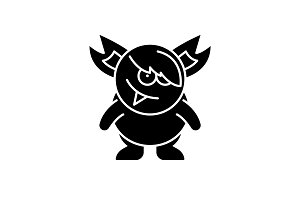 Monster black icon, vector sign on