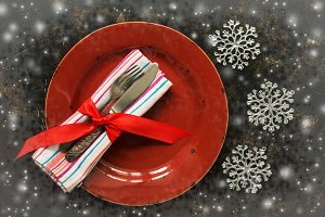 Christmas table setting, empty red