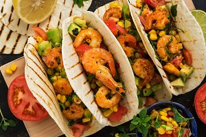 Close up tacos with shrimp. Mexican