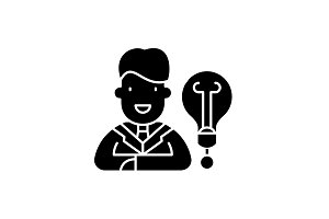 New business idea black icon, vector