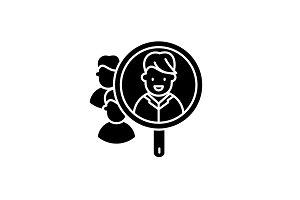 Consumer research black icon, vector