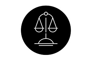 Scales of truth black icon, vector