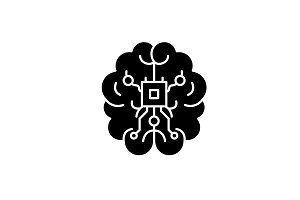 Brain chipset black icon, vector