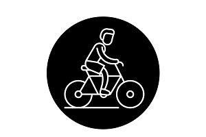 Cycling trip black icon, vector sign