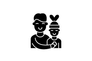 Patient care black icon, vector sign