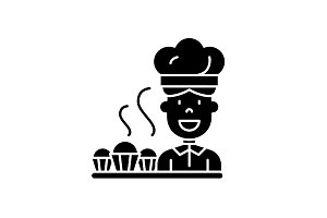 Cook preparing desserts black icon