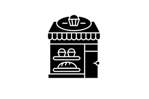 Bakery black icon, vector sign on
