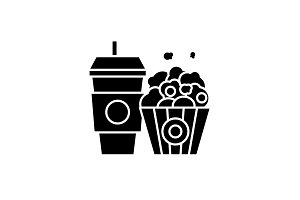 Popcorn and cola black icon, vector