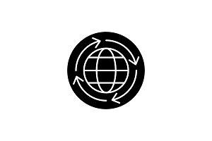 World economy black icon, vector