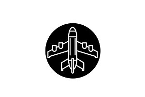 Plane landing black icon, vector