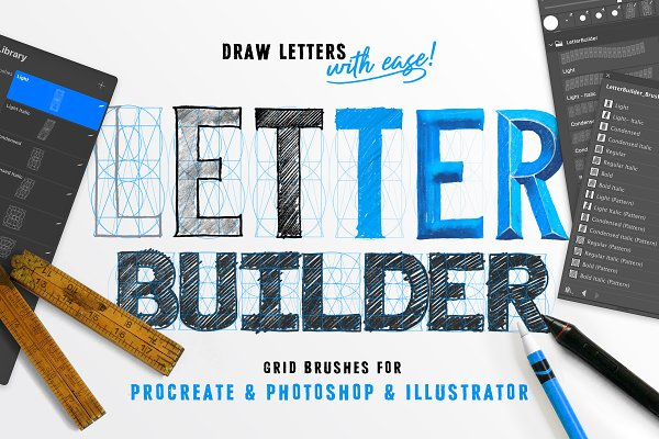 Photoshop Brushes: Ian Barnard - LetterBuilder - Draw letters easily!