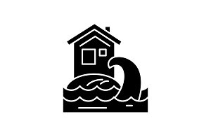 Tsunami black icon, vector sign on