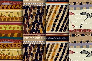 Set Tribal Vector seamless patterns