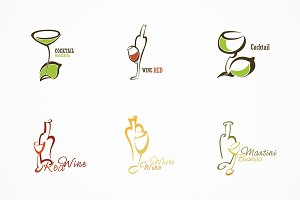 Set of 6 logos.  Alcoholic drinks