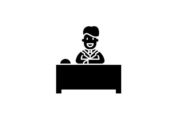 Hotel reception black icon, vector