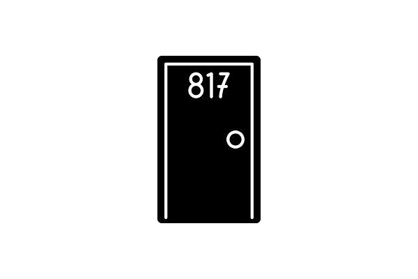 Hotel room black icon, vector sign