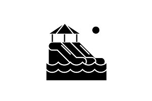 Waterslides black icon, vector sign