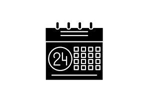 Calendar planning system black icon