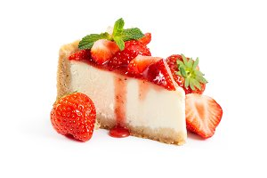 Piece of cheesecake with fresh straw