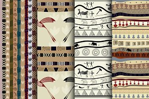 Set Tribal seamless patterns