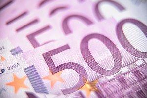 500 euro money banknotes close-up