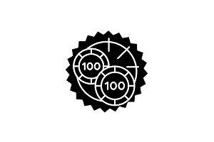 Casino roulette luck black icon