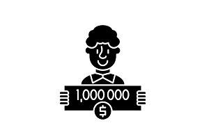 One million dollars black icon