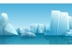 Arctic landscape with icebergs