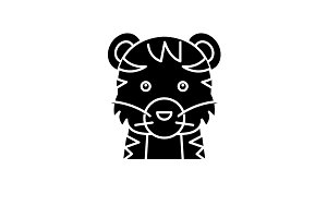 Funny tiger black icon, vector sign