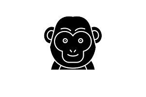 Funny monkey black icon, vector sign