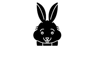 Funny rabbit black icon, vector sign