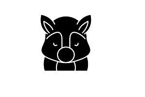 Funny squirrel black icon, vector