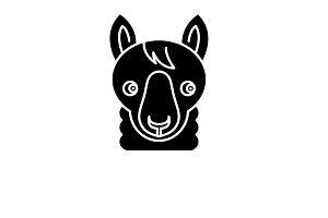 Funny llama black icon, vector sign
