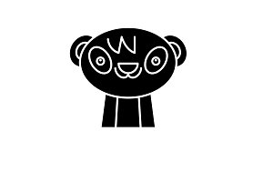 Cute panda black icon, vector sign