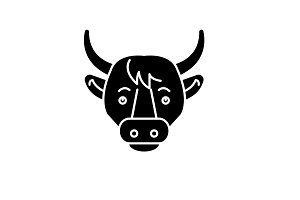 Funny cow black icon, vector sign on
