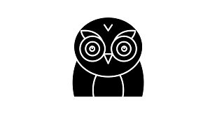 Funny owl black icon, vector sign on