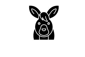 Funny hare black icon, vector sign