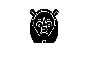 Funny rhino black icon, vector sign