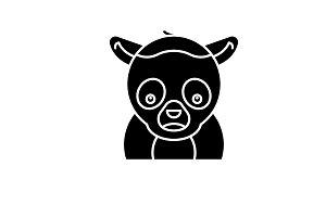 Funny lemur black icon, vector sign