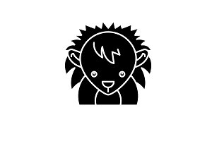 Funny hedgehog black icon, vector