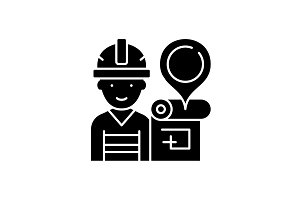 Engineer and house plan black icon