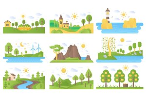 Mini landscapes icons set