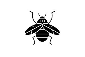 Bee black icon, vector sign on