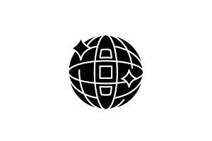 Disco ball black icon, vector sign