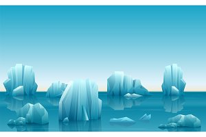 Arctic landscape with icebergs