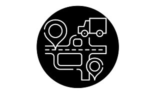 Route navigation black icon, vector