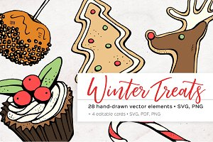 Winter treats vector illustrations