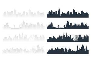 Modern cityscape silhouette set.